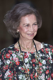 Queen Sofia wore her hair in a teased bob while attending a dinner in Palma de Mallorca.