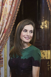 Queen Letizia of Spain attended a reception for Costa Rica's President wearing her hair in a stylish layered cut.
