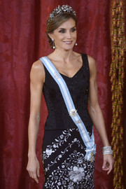 Queen Letizia of Spain donned a black corset top and a floral-embroidered skirt, both by Lorenzo Caprile, for the official dinner for the Israeli President.