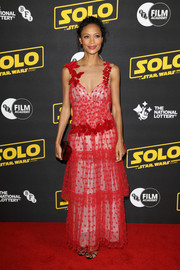 Thandie Newton was Valentine-glam in a tiered red lace gown by Rodarte at the special BFI screening of 'Solo: A Star Wars Story.'