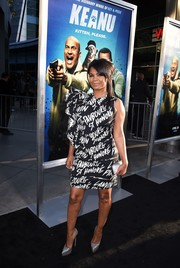 Nia Long worked a bold black-and-white graffiti-print dress by Lanvin at the special presentation of 'Keanu.'