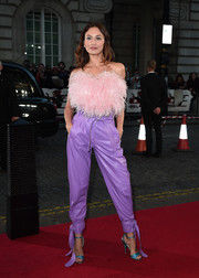 Olga Kurylenko rocked a strapless pink feathered top by Attico at the special screening of 'Johnny English Strikes Again.'
