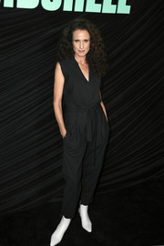Andie MacDowell kept it relaxed in a sleeveless black jumpsuit at the special screening of 'Bombshell.'