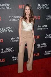 Alison Brie was classic and sophisticated in a cream-colored cowl-neck cami that she wore with Eva Fehren jewelry at the special screening of 'BoJack Horseman.'