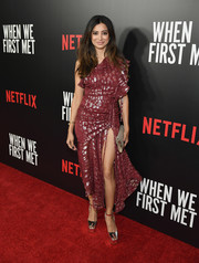 Noureen DeWulf oozed ultra-feminine appeal in a high-slit, one-shoulder ruffle dress at the special screening of 'When We First Met.'