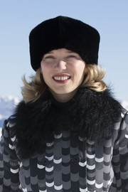 Lea Seydoux kept warm with a black fur hat at the 'Spectre' photocall in Austria.