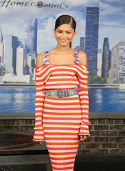 Zendaya Coleman teamed an oversized metallic belt with a cold-shoulder sweater dress, both by Altuzarra, for the 'Spider-Man: Homecoming' photocall.