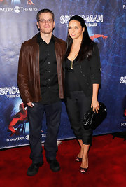 "Matt wore a pair of ""Walker"" relaxed straight leg jeans in Boone to the 'Spider-Man' Broadway opening."