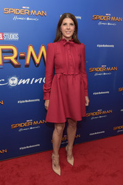 Marisa Tomei kept it youthful and modest in a long-sleeve raspberry shirtdress at the 'Spider-Man: Homecoming' New York First Responders' screening.