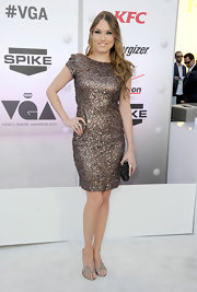 Clare Grant wore a champagne beaded dress with cap sleeves to the Video Game Awards.