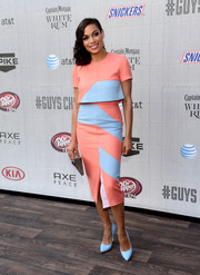 Rosario Dawson added an extra pop of pastel with blue Chelsea Paris pumps.