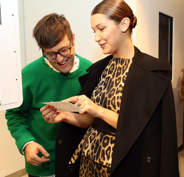 More Pics of Bella Hadid Oversized Belt (1 of 37) - Bella Hadid Lookbook - StyleBistro [green,outerwear,eyewear,fun,event,fashion design,glasses,suit,smile,vision care,winter 2014 collection,andrew bevan,bella hadid,model,new york city,teen vogue celebrate the fall,sportmax,teen vogue,l]