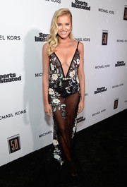 Tanya Mityushina commanded stares in a sheer, floral-embroidered gown by Berta at the Sports Illustrated 2017 Fashionable 50 celebration.