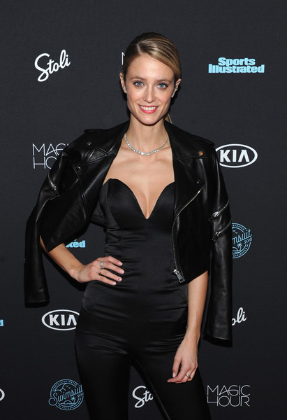 More Pics of Kate Bock Leather Jacket (1 of 2) - Outerwear Lookbook - StyleBistro [sports illustrated,clothing,latex clothing,little black dress,dress,textile,carpet,long hair,brown hair,premiere,black hair,kate bock,new york city,moxy times square,magic hour,swimsuit 2018,launch event]
