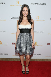 Jessica Lowndes chose black satin platform sandals to team with her frock.