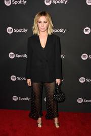 Ashley Tisdale attended the Spotify Best New Artist 2019 event wearing a boxy black blazer.