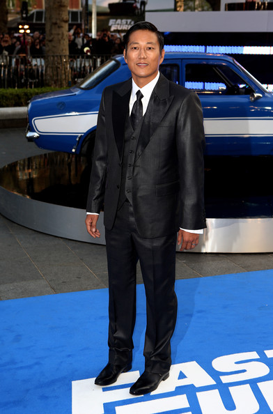 Ssung Kang Men's Suit [world premiere of fast furious 6,suit,formal wear,outerwear,vehicle,car,tuxedo,luxury vehicle,electric blue,compact car,ssung kang,england,london,empire leicester square,red carpet arrivals,fast furious 6 - world premiere]
