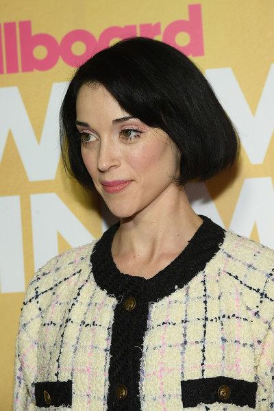 St. Vincent Bob [hair,face,hairstyle,eyebrow,bob cut,beauty,black hair,lip,hair coloring,brown hair,billboard women in music 2018,arrivals,new york city,st. vincent]