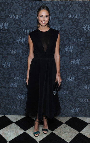 Stacy Keibler Little Black Dress [between the shows,dress,clothing,fashion model,fashion,cocktail dress,little black dress,shoulder,fashion show,neck,footwear,stacy keibler,new york city,h m,vogue studios]