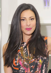 Stacy London wore her signature long locks sleek and straight at the opening of the Stuart Weitzman boutique at Bloomingdale's in NYC.