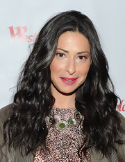 Stacy London kept her outfit neutral, but added a serious pop of color to her lips at the Westfield Style Tour. The hot pink shade added a little drama to her demure look.