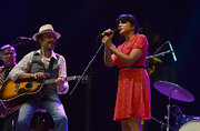 Norah Jones rocked out on stage when she wore this red printed shirtdress.