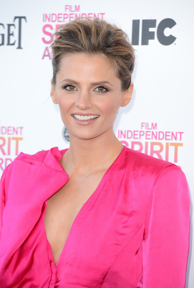 Stana Katic Pompadour [hair,hairstyle,pink,skin,lip,blond,chin,eyebrow,beauty,forehead,stana katic,film independent spirit awards,hair,hairstyle,television,pink,skin,lip,santa monica beach,california,stana katic,28th independent spirit awards,kate beckett,castle,image,photograph,richard castle,television,2013]