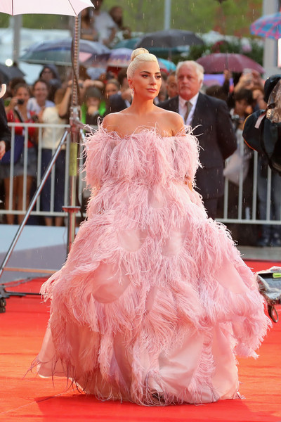 Lady Gaga made sure all eyes were on her when she wore this feathered off-the-shoulder gown by Valentino Couture to the Venice Film Festival screening of 'A Star is Born.'
