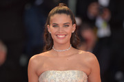 Sara Sampaio looked pretty with her half-up waves at the Venice Film Festival screening of 'A Star is Born.'