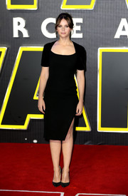 Felicity Jones kept it low-key yet classic in a short-sleeve LBD at the European premiere of 'Star Wars: The Force Awakens.'
