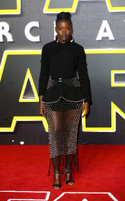 Lupita Nyong'o's Giuseppe Zanotti two-tone ankle-strap heels perfectly complemented her dress.