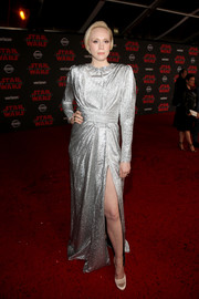Gwendoline Christie chose a pair of nude satin pumps to finish off her look.