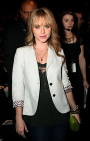 Taryn donned a pinstripe blazer with floral cuffs at the L.A.M.B. fashion show in NY.