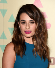 Lea Michele's fuchsia lip worked perfectly with her teal outfit.