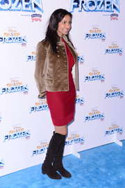 Padma Lakshmi attended the 'Disney On Ice Presents Frozen' show looking military-chic in her tan velvet jacket and black knee-high boots.