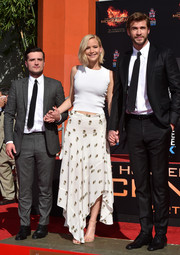 Jennifer Lawrence teamed her top with a printed hankerchief-hem skirt, also by A.L.C.