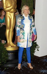 Glenn Close paired her floral jacket with platform pumps.