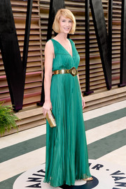 Kelly Lynch looked divine in a pleated green evening dress at the Vanity Fair Oscar party.