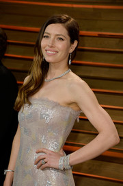 Jessica Biel radiated with layers of Tiffany & Co. diamond bracelets during the Vanity Fair Oscar party.