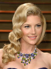 Katheryn Winnick totally charmed with her sculpted, retro waves at the Vanity Fair Oscar party.