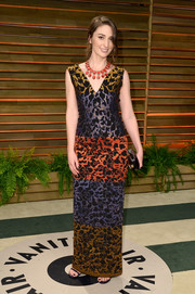 Sara Bareilles chose a color-block gown by Nicole Miller for the Vanity Fair Oscar party.