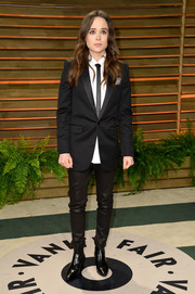 Ellen Page completed her edgy menswear-inspired look with a pair of black leather skinnies by Saint Laurent.