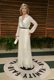 Jane Fonda kept it classic in a white wrap dress during the Vanity Fair Oscar party.