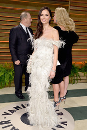 Georgina Chapman was all about feathers and frills at the Vanity Fair Oscar party.