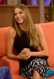 The lovely Sofia Vergara appeared on Despierta America with her hair styled in a classic center part.