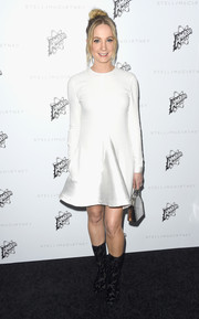 Joanne Froggatt was flirty and chic in a long-sleeved flounced white dress.