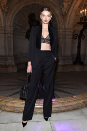 Lily Donaldson showed us how to ooze sex appeal in a pantsuit when she wore these black separates with a lace bra at the Stella McCartney fashion show.