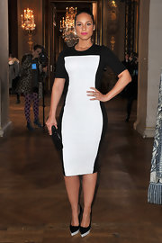 Alicia Keys opted for sky-high stilettos, wearing black and white platform kicks.