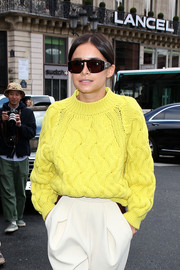 Miroslava Duma arrived for the Stella McCartney fashion show wearing a pair of square sunnies.