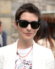 Anne's super short 'do and wayfarers gave her a cute boyish style.